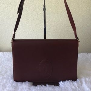 Vintage LES MUST DE CARTIER Burgundy Calf Leather